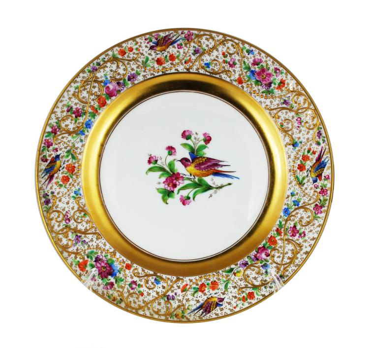 1  sc 1 st  Invaluable & 12 Dinner Plates Birds Ornithological Antique Dresden Ambros