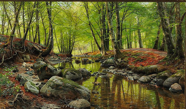 Peder Mønsted: Springday in the forest near a stream with beeches and anemones in bloom.