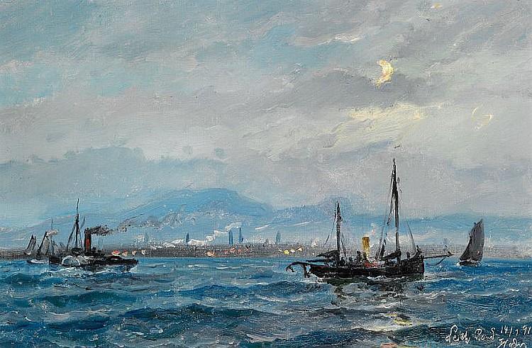 Holger Drachmann: A paddle steamer and sailing ships off the coast of Leith near Edinburgh.