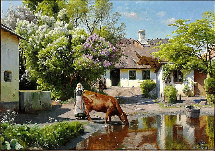 Peder Mønsted: Spring day in Særslev. Watering the cow.