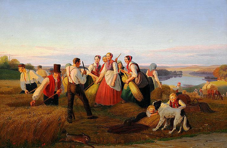 Jørgen Sonne: Harvest scene from Zealand.