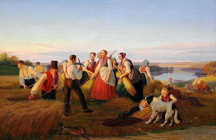 Jørgen Sonne: Harvest scene from Zealand.