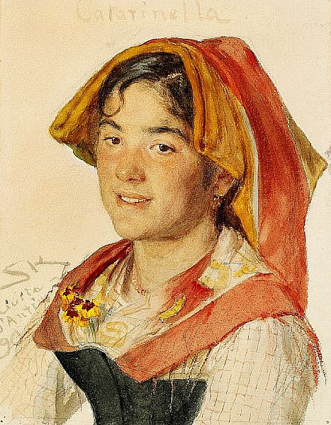 P. S. Krøyer: A smiling Italian girl with orange and red headdress.