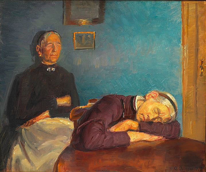 Anna Ancher: The Brøndum sisters are resting after a hard day's work.