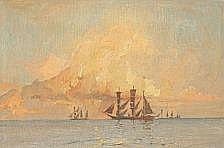 : Harry Kluge: Sailing ships in the sunset. Signed