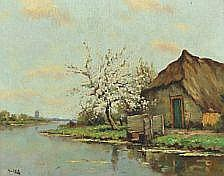 : Hans am Ende: Landscape with a farm by a river.