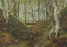 : Godfred Christensen: Forest scenery. Signed G.