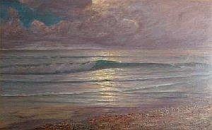 Conrad Selmyhr: Kystparti. Maleri. Sign. Conrad Selmyhr 1920. 75,5 x 120. Category: Paintings Modern  Estimate: E410 Euro