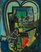 Asger Jorn: Composition. Signed Jorn 46. Oil on cardboard. 51 x 40 cm.