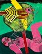 Corneille: Femme et oiseau. Signed Corneille 81. Acrylic on paper laid down on canvas. 65 x 50 cm.