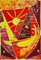 Egill Jacobsen: Red mask, 1964. Signed and dated on the reverse. Oil on canvas. 65 x 46 cm.