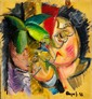 Asger Jorn: Composition. Signed Asger J. 36. Oil on plywood. 34 x 31