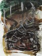 Per Kirkeby: Composition. Signed PK. 85. Mixed media on paper. Visible size 39 x 29 cm.
