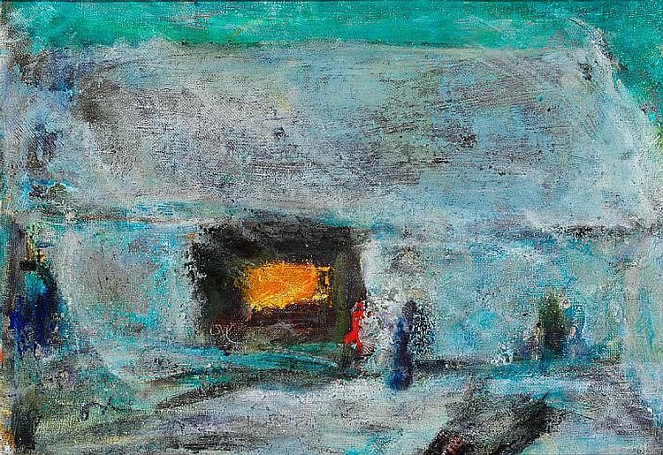 Oluf Høst: Bognemark. Signed monogram. Oil on canvas. 30 x 42 cm.
