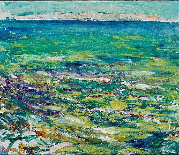 Karl Bovin: Landscape near Fårevejle with a view to Sejerøbugten. Signed Karl Bovin. Oil on canvas. 48 x 56 cm.