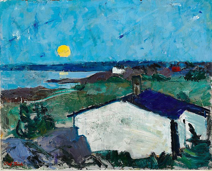 Olaf Rude: Moonlight, Bornholm. Signed Olaf Rude. Oil on canvas. 80 x 100 cm.