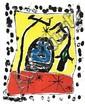 Joan Miró: Composition, Exposition à la Galerie Matarasso, Nice. Signed Miro 1957, 121/125. Lithograph in colours. Sheet size 62 x 48 cm.