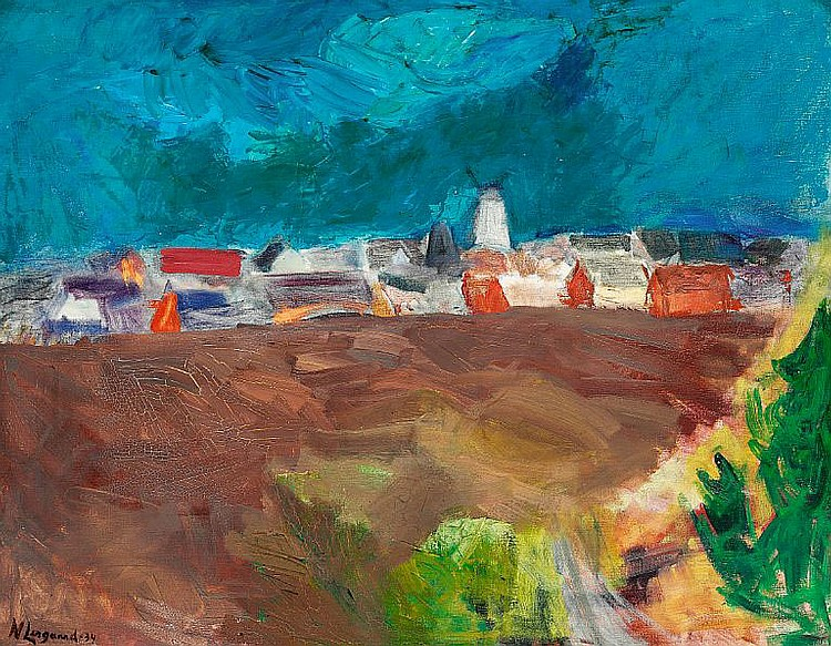 Niels Lergaard: View over Gudhjem, Bornholm. Signed N. Lergaard 34. Oil on canvas. 89 x 116 cm.