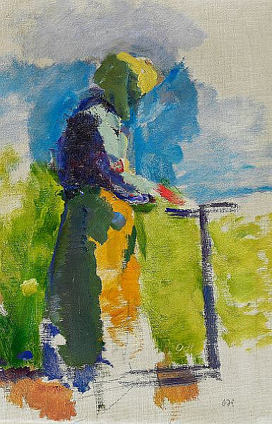 Oluf Høst: Woman from Bornholm, figure study. Double signed OH. Oil on canvas. 42 x 28 cm.