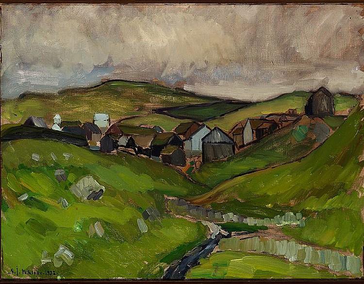 Samuel Joensen-Mikines: Village, the Faroe Islands. Signed S.J. Mikines 33. Oil on canvas. 70 x 90 cm.