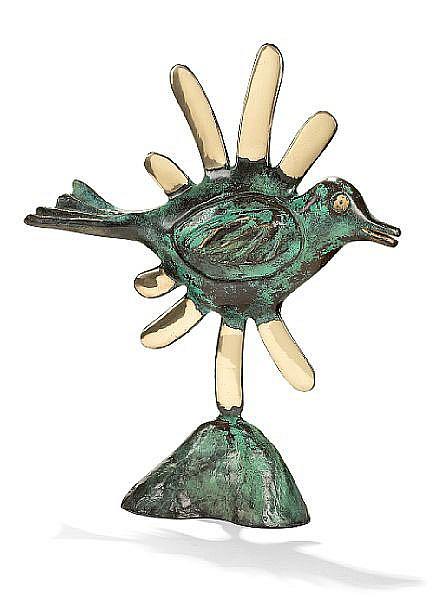 Corneille: Bird, 2005. Stamp signed Corneille. Green patinated bronze. H. 47 cm.