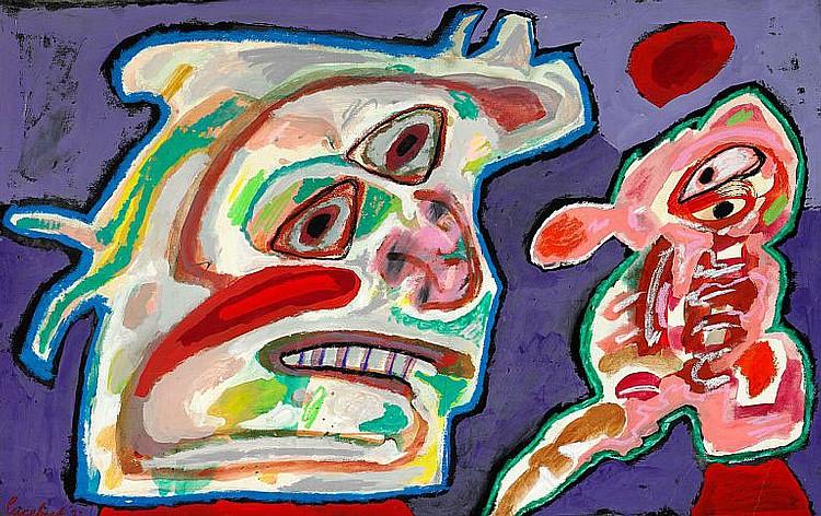 Lucebert: Figure composition. Signed Lucebert '71. Mixed media on paper laid down on canvas. 58 x 92 cm.