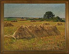 Thorvald Larsen: Landscape with haycocks. Signed