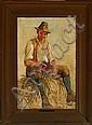 Edvard Petersen: Italian farmer. Signed monogram., Edvard Frederik Petersen, Click for value