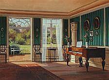 Frederik Wilhelm Svendsen: Interior. Signed F.