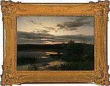 August Bromeis Sunset with a man fishing in a