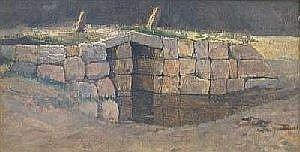Heinrich Buntzen: Stenbro. Tilskrevet. Malt pa pap. 11 x 24. Category: Paintings