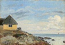 C. F. Aagaard: Coastal scene with a house at a