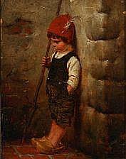 Hermann Kaulbach: A sulky German shepherd boy in a