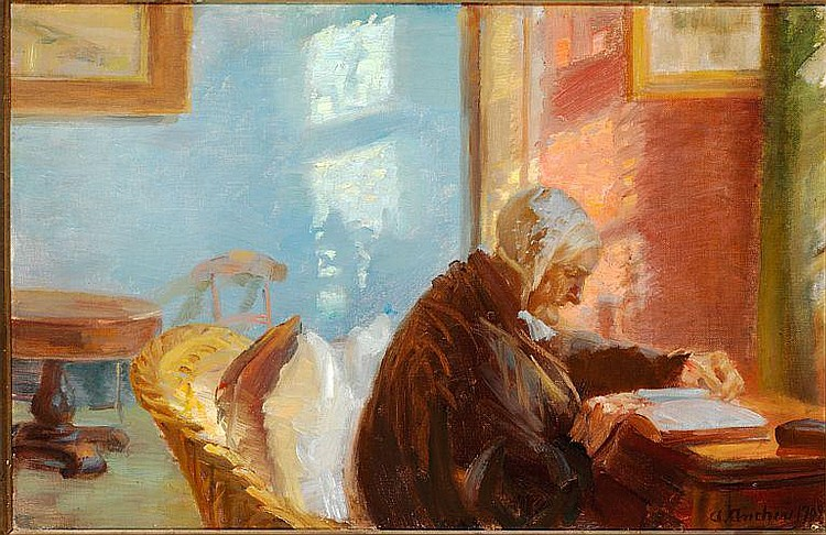 Anna Ancher: The painter's mother Mrs Brøndum in the blue sitting-room.