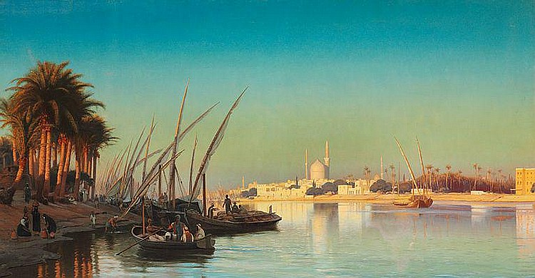 Carl Neumann: Evening on the Nile near Cairo.