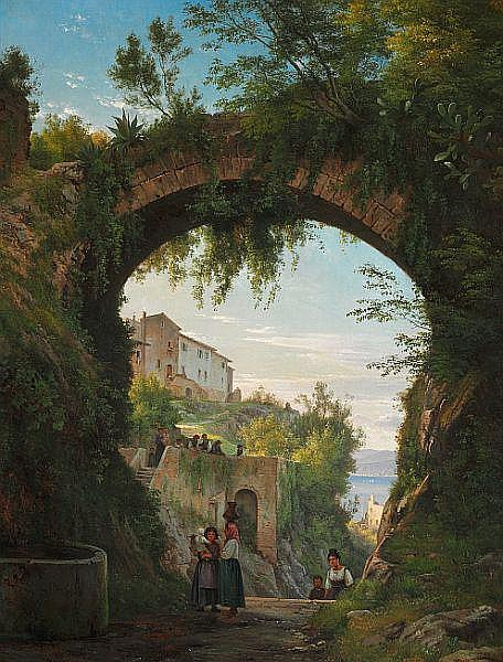 C. F. Aagaard: Italians under an aqueduct in a high-lying town at a lake.