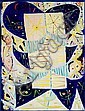 Egill Jacobsen: Blue-yellow mask, 1977. Signed and dated on the reverse. Oil on canvas. 116 x 89 cm., Egill Jacobsen, Click for value