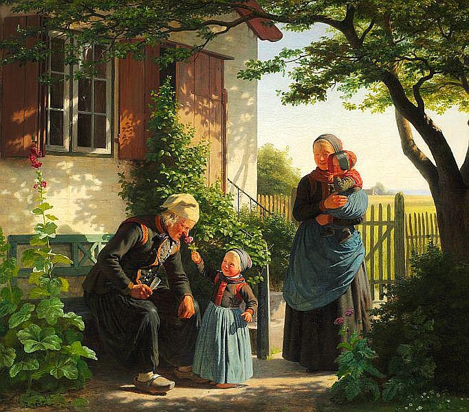 Julius Exner: An old man smelling a little girl's rose.