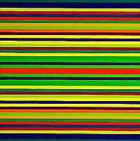 Poul Gernes: Stripe painting, 1964. Unsigned. Synthetic paint on masonite. 122 x 122 cm.
