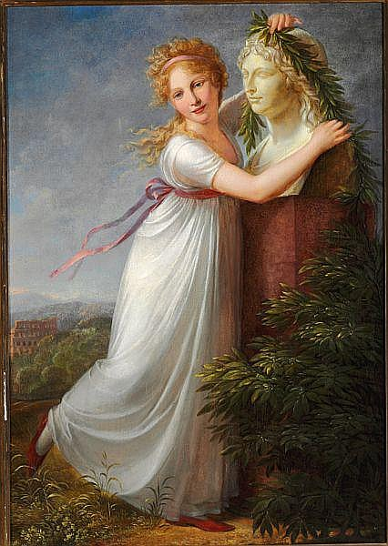 Philip Friedrich Hetsch: Ida garlanding her mother's bust. 1803.