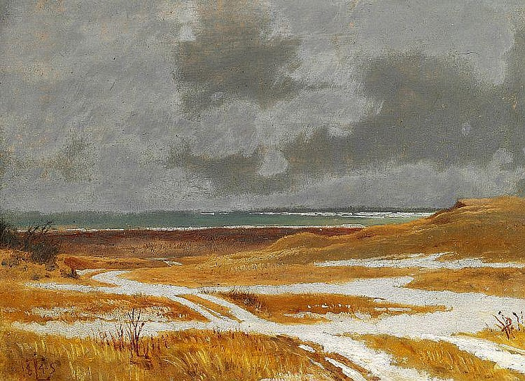 Johan Thomas Lundbye: Study of a landscape with fields with snow, in the background a lake.