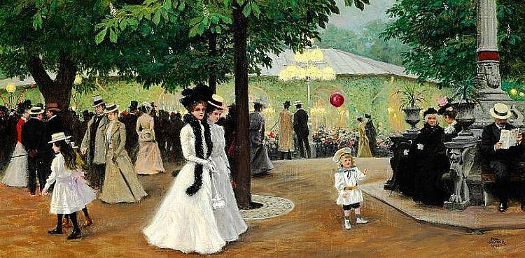 Paul Fischer: The red balloon. Summer evening in Tivoli.