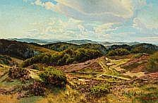 Carl Milton Jensen: Moor landscape with heather in
