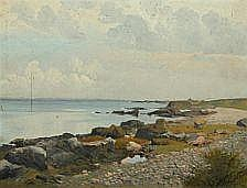 Peter Schou: Danish coastal scenery. Signed P.