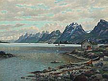 Conrad Selmyhr : Norwegian fiord with houses and