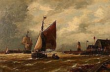 Richard Henry Nibbs : Harbour scene with sailing
