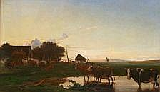 Otto Haslund : Cows by a farm, late afternoon.
