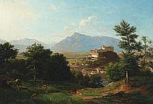 Franz Krüger : Mountain scenery with a castle,