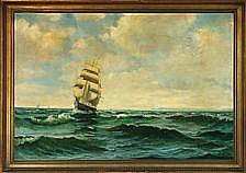 Willy Bille: Seascape. Signed monogram. Oil on