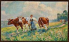 Raymond Louis Lecourt: The cows are being brought